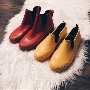 Two pairs of Keds rain boots